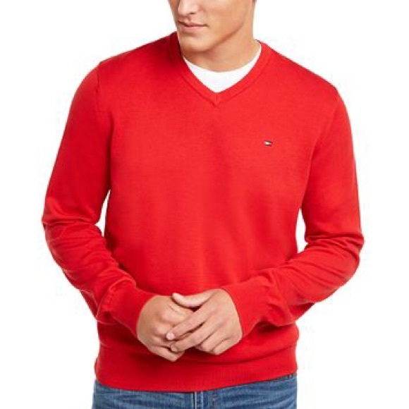 Tommy Hilfiger Other - Tommy Hilfiger Apple Red V-neck Sweater